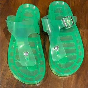 Forever 21 Neon Jelly Sandal Thong Flip Flop Shoes